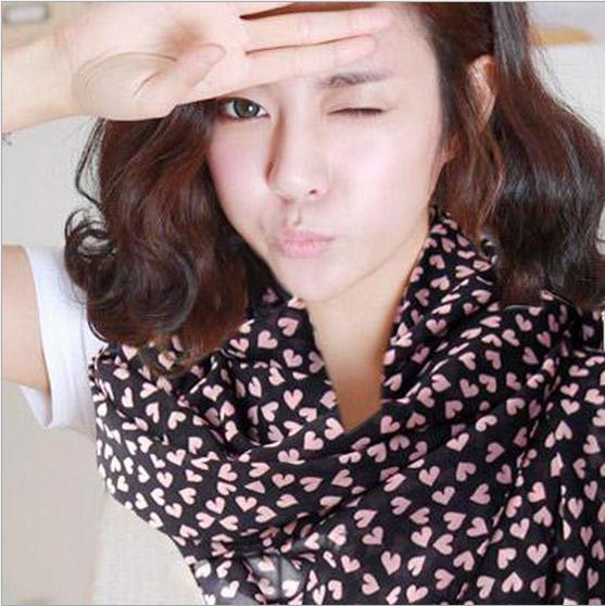 Корейские женщины персик в форме сердца любовь шифон шарфы весна и лето сладкий дикий 70 * 160 см бесплатная доставка