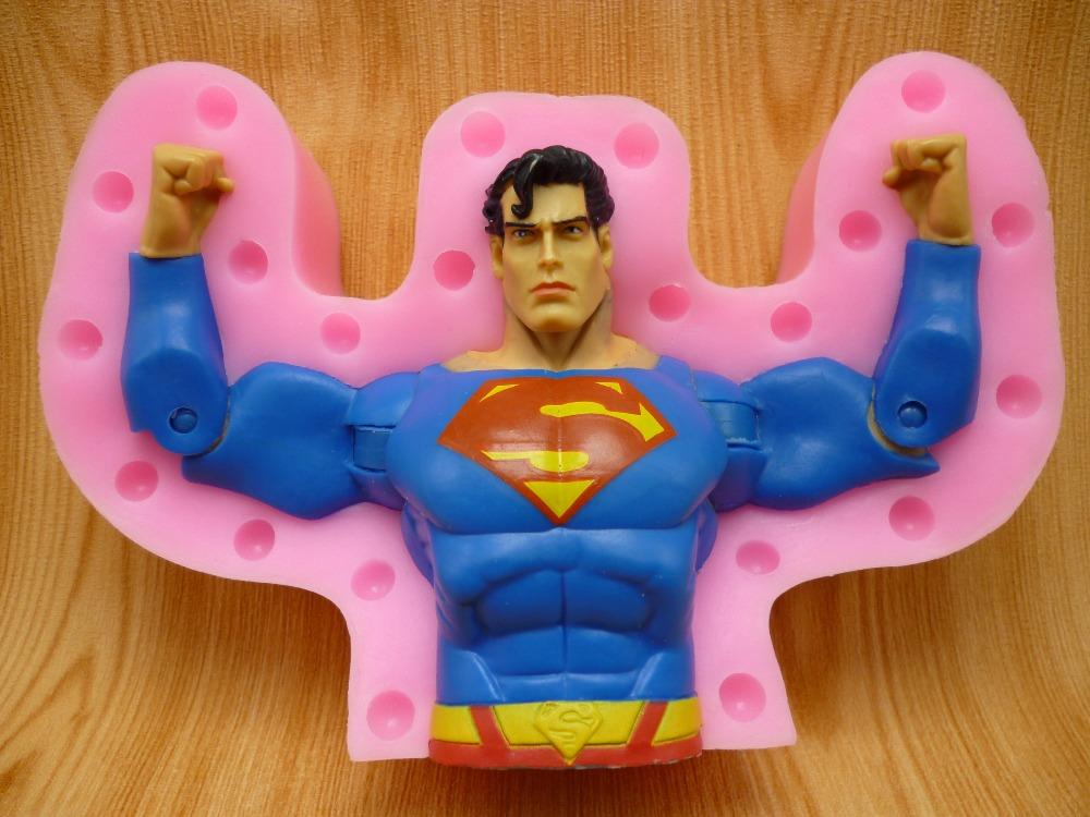 3D Superman fondant cake molds, silicone molds, chocolate, soap, wax-like mold, baking kitchen free shipping(China (Mainland))