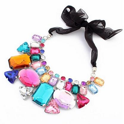 2015 collares fashion pendant chain candy colored ribbons irregular geometric mosaic stone short necklace fine jewelry CZ9032(China (Mainland))