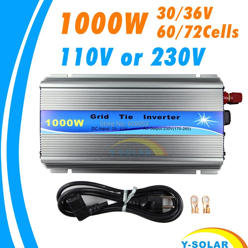 1000W 30V/36V Grid Tie Inverter MPPT function Pure Sine wave 110V OR 230V output 60 72 CELLS panel input on grid tie inverter(China (Mainland))