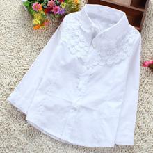 Niñas blusa blanca 100% algodón School Girl encaje blusa para chicas camisetas de manga larga primavera y otoño moda embroma la ropa(China (Mainland))