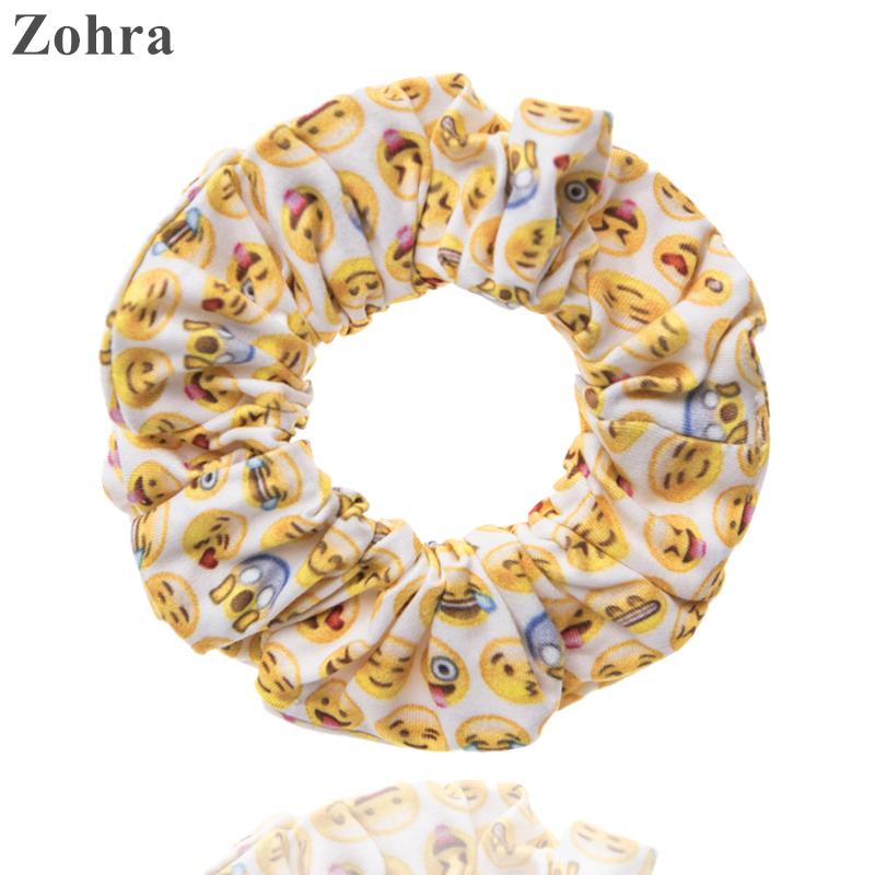 Zohra New Fashion Hair accessories emoji yellow Printing scrunchy Women's Girls hair scrunchies Elastic Hair bands Headwear(China (Mainland))