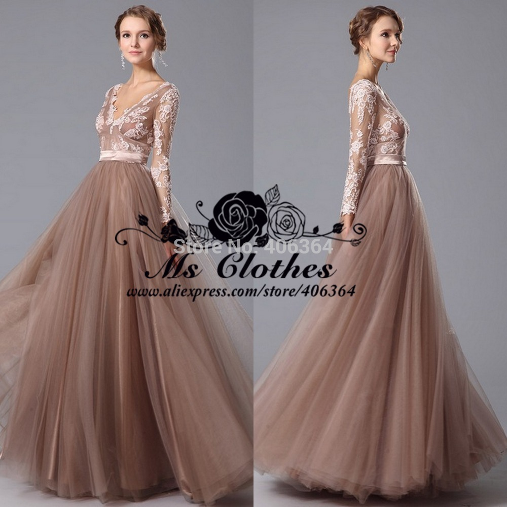 Fashion V Neck Floor Length Tulle Evening Dress Long Sleeve Prom Dresses 2015 Vestido De Festa