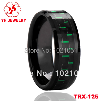 High Polish 8MM Black Tungsten Promise Rings Inlay Grenn and Black Carbon Fiber Men Ring Sizes 4 to12(China (Mainland))