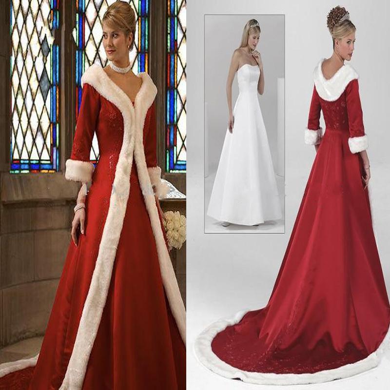 Wedding dresses 2015 red warm formal dresses fur appliques christmas
