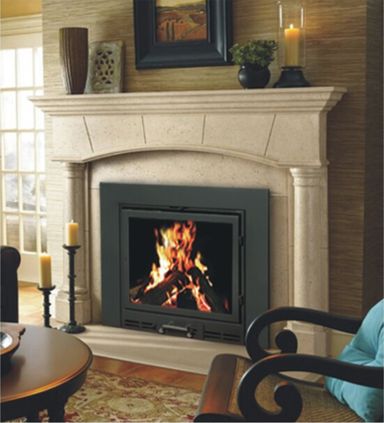 YN 020 Metal Cast Iron Wood Burning Fireplace With Chimney