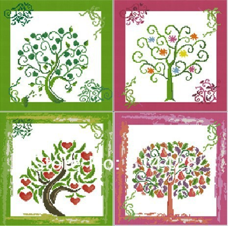 Free shipping Uncompleted DIY Children's paiting -trees Counted Cross Stitch kit with 11CT linen cloth