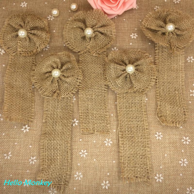Natural jute burlap hessian flower pearl corsage handmade for How to make hessian flowers