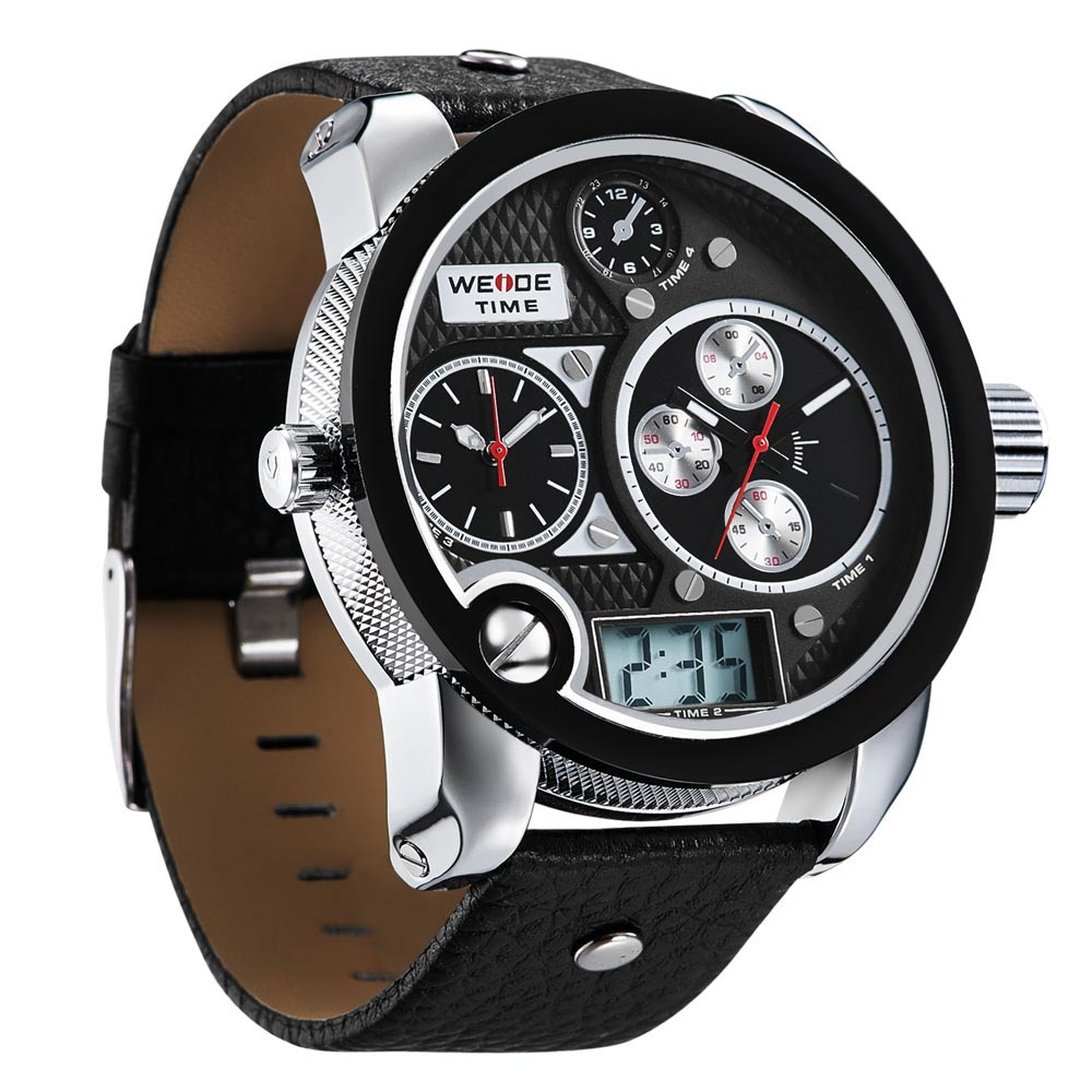 57MM Big Size Men Sports Watches 3 Time Zones Multi Functional Analog Digital Wristwatch Leather LED Clock 3ATM Relojes NW3750<br><br>Aliexpress