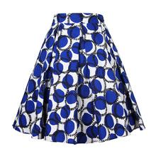 Spring Autumn Navy Blue High Waist Polka Dots Print Pleated Mid-Calf Skirt Fall Contrast Casual A Line Skater 201 Women Clothing