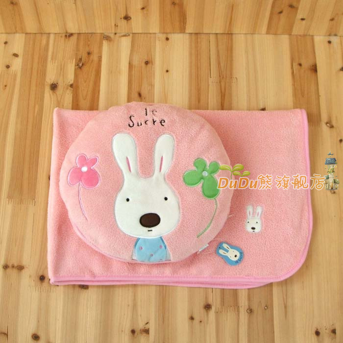 Rabbit Cute Cartoon Air Conditioning Blanket Creative Gift Pillow Cushions Plush Coral Cashmere .30CM With 100CM*80/70CM(China (Mainland))