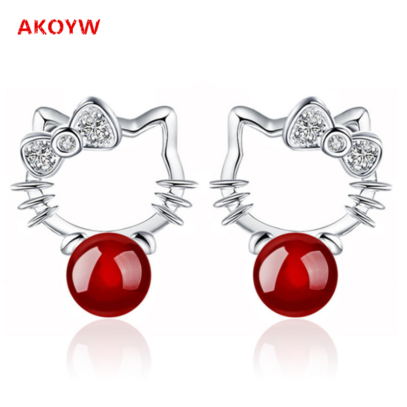 silver plated red agate earrings cute animal Hello Kitty one pair of black onyx earrings girls love fashion jewelry(China (Mainland))