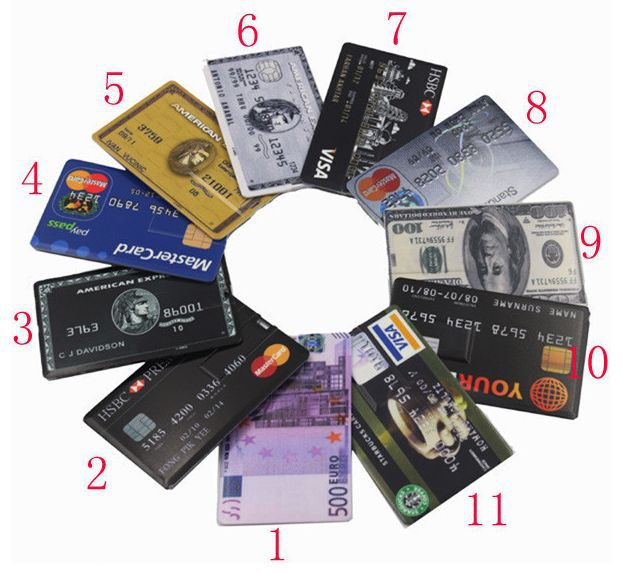 Credit Card USB Flash Disk (As the photo for choosing) - Free Shipping(China (Mainland))