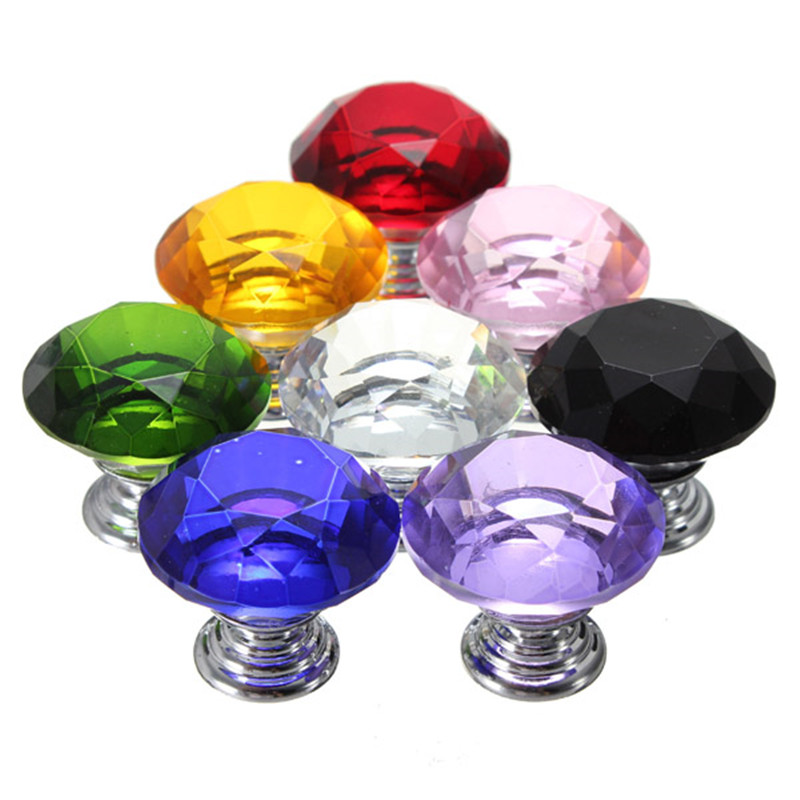 Durable 30mm Diamond Shape Crystal Glass Cabinet Knob Cupboard Drawer Pull Handle Home Furniture Hardware Kitchen(China (Mainland))
