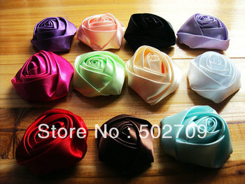 Free shipping! 30pcs/lot 8cm Fashion Quality garments brooches shoes hair onament accessories solid color quality satin rosette