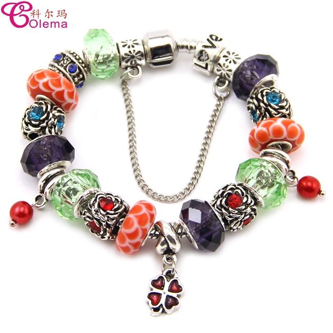 2015 new hot charm bracelet jewelry China market girls bead charm bracelet made of rhinestone bead wholesale(China (Mainland))