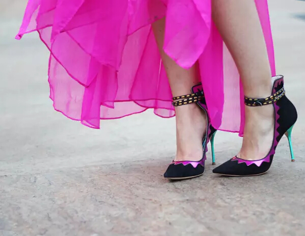 Women nice Scalloped applique multicolor high cut dress shoes pointed toe high heel buckle fastening ankle strap pumps(China (Mainland))