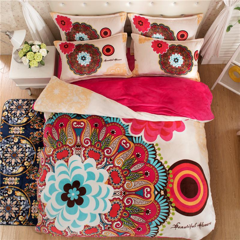 2017 winter fleece bedding set flower flannel duvet cover set Christmas caroset fashion bed set flower bohemia bed linen sheet(China (Mainland))