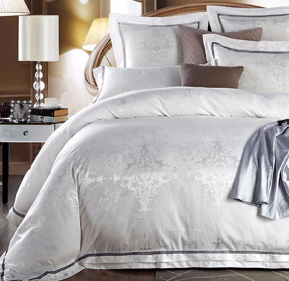 Aliexpress Com Buy Luxury Jacquard White Bedding Sets