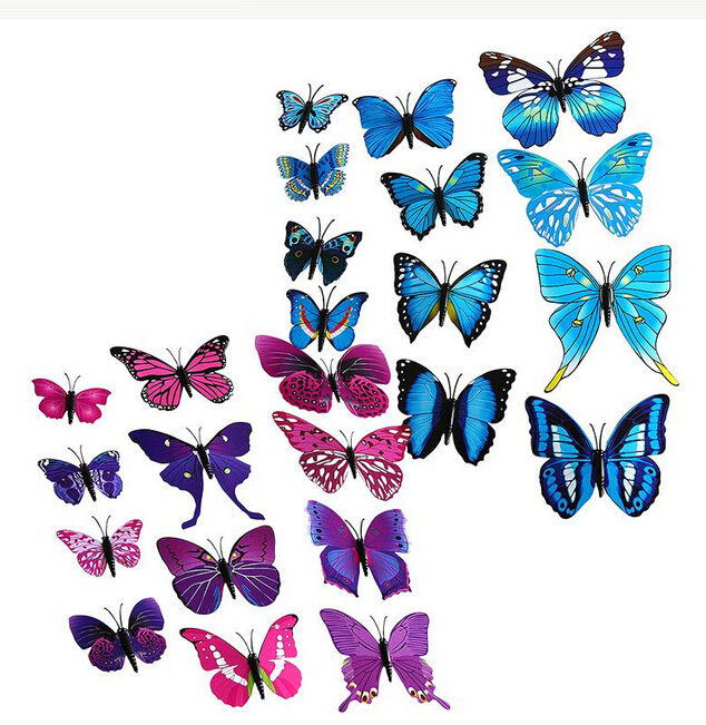 2015 New 12pcs 3D Butterfly Wall Stickers Butterflies Decors For Home Fridage Wall Room Decoration Gossip Girl Same Style(China (Mainland))
