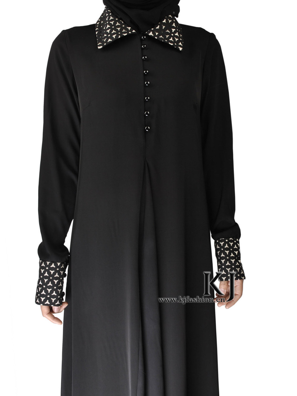 2015 muslim women dress djellaba casua lwide-lapel abaya plus size caftan long turkish dubai black robe KJ150310