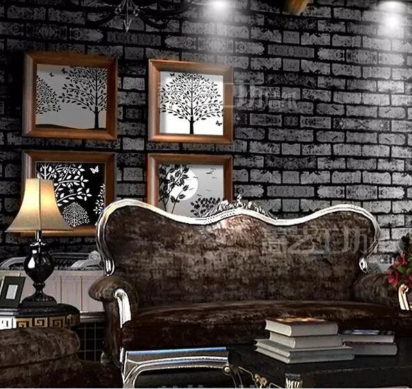 for Black brick wallpaper bedroom