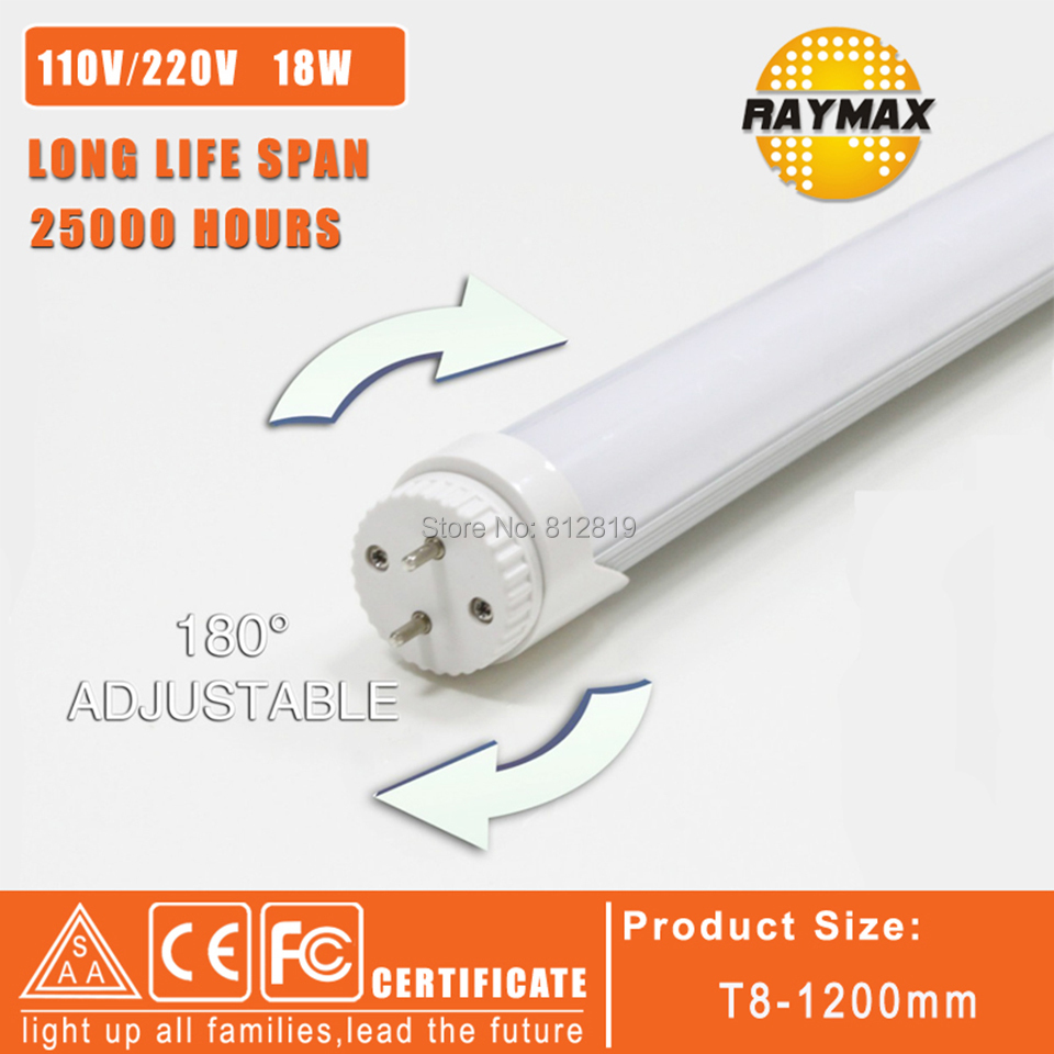 5pcs/lot 180 degree rotate led tube light led t8 1200mm lamp warm white milky cover free shipping<br><br>Aliexpress