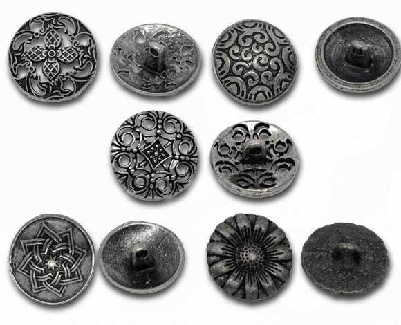 50 Mixed Silver Tone Carved Sewing Metal Buttons (B09142)8seasons(China (Mainland))