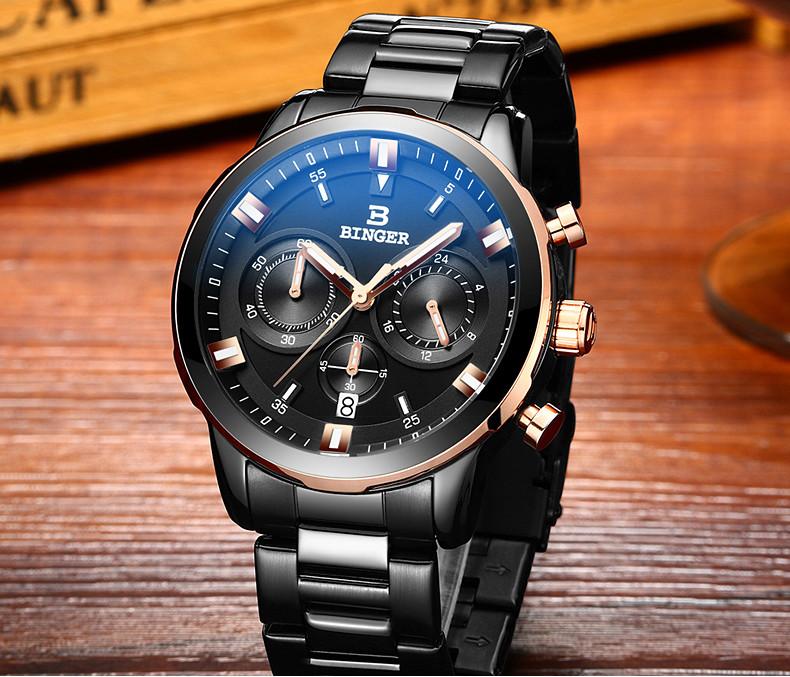Новый Бренд Бингер Бизнес уникальный наручные часы мужской кварцевые кожаный ремешок ремешок часы календарь дата Модный ретро часы подарок