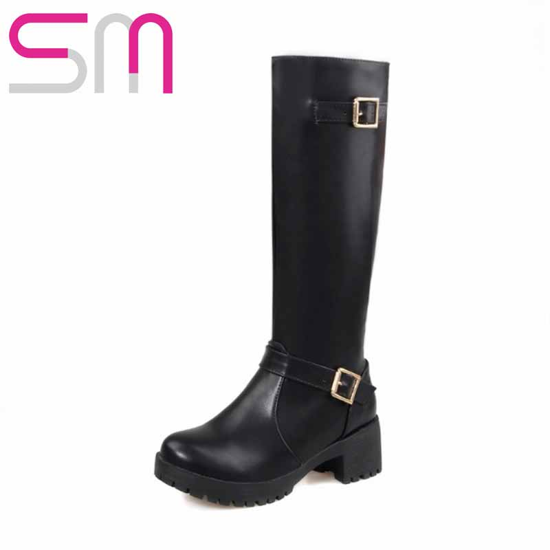 Size 34-43 Fashion Buckle Strap Knee High Boots for Lady's Square Heels Platform Women Boots Add fur Fall Winter Boots 2015