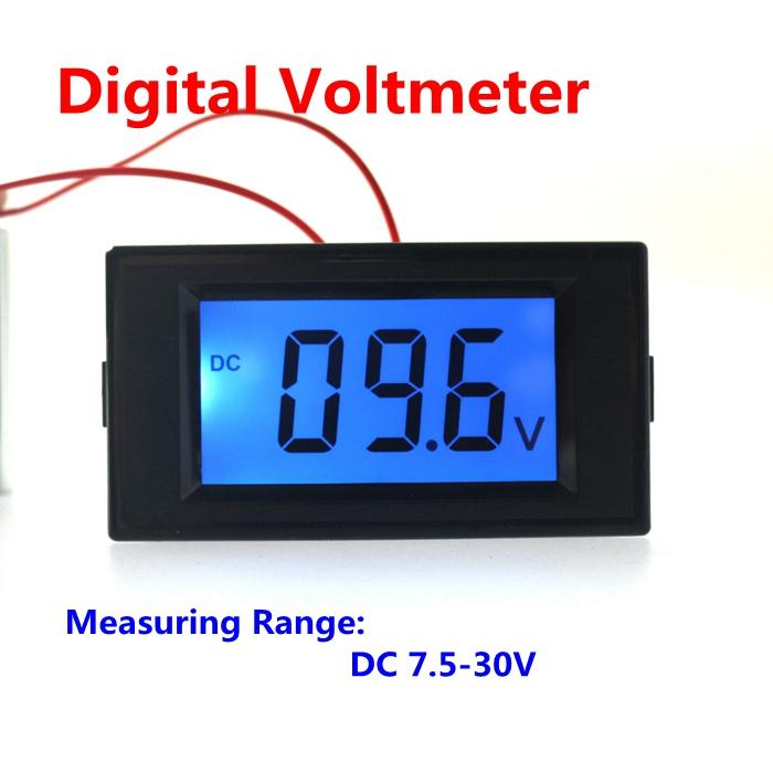 Digital lcd display voltmeter DC 7.5-30V car motorcycle monitors volt voltage meter(China (Mainland))