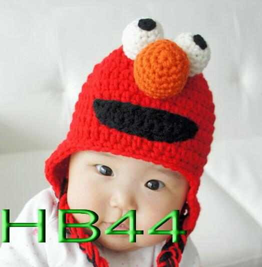 Baby Crochet Hat Knitted Caps Winter Beanie Sesame Street ELMO Pattern Children Headwear Boy Girl Infant Toddler Cotton Hat 1pcs(China (Mainland))