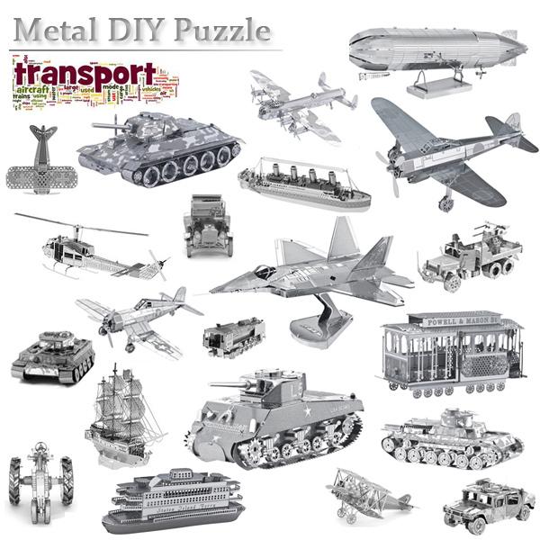Free Shipping Transport Battle Tools Model Kits Scale Models DIY Metallic Nano Puzzle Toys F22 Tank Titanic Bus 3D Puzzle Model(China (Mainland))