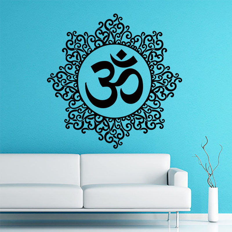 Living Room Decoration Om Symbol Wall Sticker Mandala Pattern Indian Yoga Home Decor Vinyl Art Murals