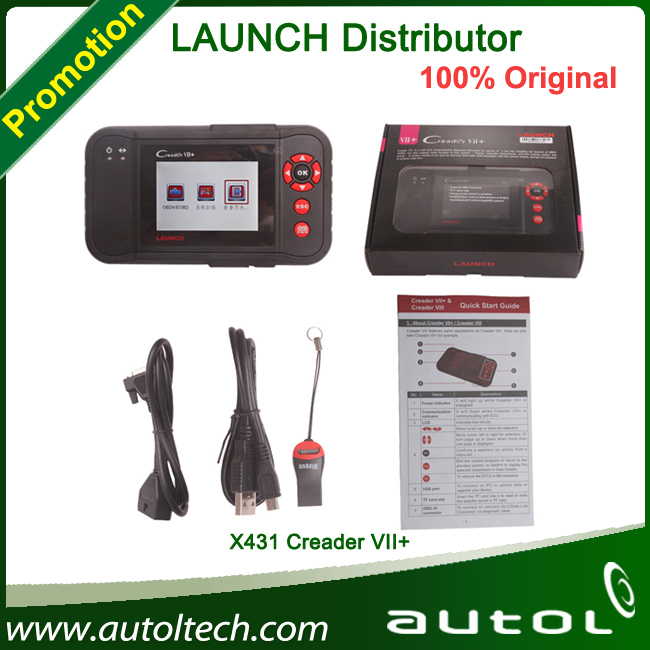 2015 Best OBDII Diagnostic tool LAUNCH X431 Creader VII+ Support all vehicles which match OBDII standard Replaced CRP123(China (Mainland))