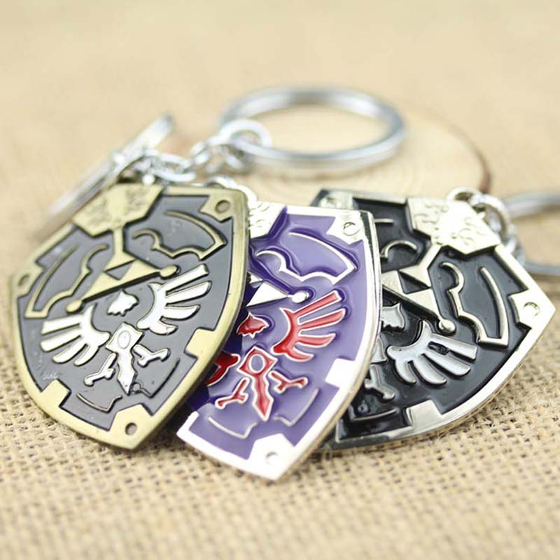 New Design 3D Game The Legend Of Zelda Ocarina Of Time Enamel Metal Shield logo Keychain Surrounding Anime Key Chains souvenirs(China (Mainland))