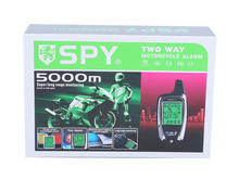 Alta qualità SPY 5000 m LCD pager 2 way moto sistema di allarme con avviamento motore remoto starter & sensore a microonde(China (Mainland))