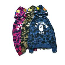 Suprem Hoodies Hot Men'S Fashion Clothing Slim Velvet Warm Camouflage Jacket Bap Shark Hoodie hip top yeezy sudadera hombre(China (Mainland))
