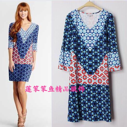New Arrival free shipping epucci dress sexy slim V-neck stretch knit dress blue print SILK JERSEY dresses(China (Mainland))