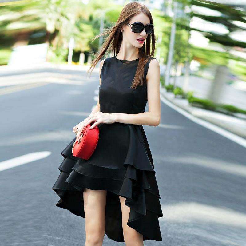 2016 summer in Europe and the United States required high-end women's sleeveless irregular Tuxedo Dress pendulum(China (Mainland))