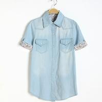 New Style Casual women denim Blouses & Shirts women's denim shirt short-sleeve shirt slim female