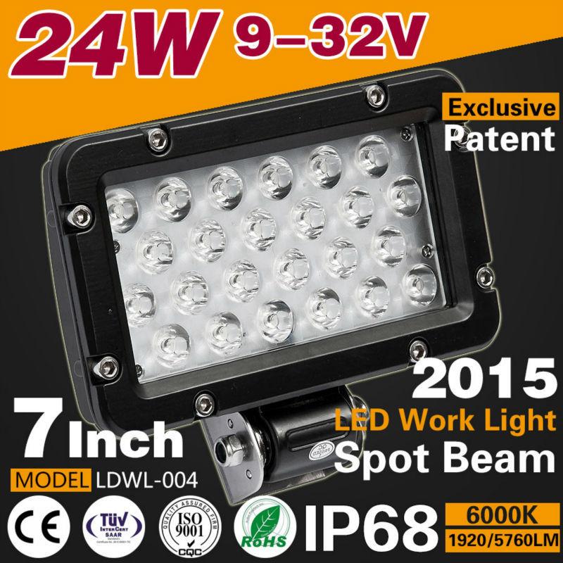 New product 7Inch 24W 1920LM LED Car Work light Lamp 6000k spot/flood beam aluminium 9-32v black Boat Off-Road 4WD Truck SUV(China (Mainland))