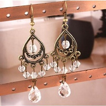 new fashion vintage crystal stud earrings for women ear jewelry gift accessories ED076(China (Mainland))