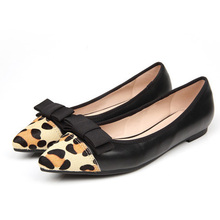 big size  40 sweet and sexy women leopard pointe toe with butterfly flat single shoes female spring fall shoes(China (Mainland))