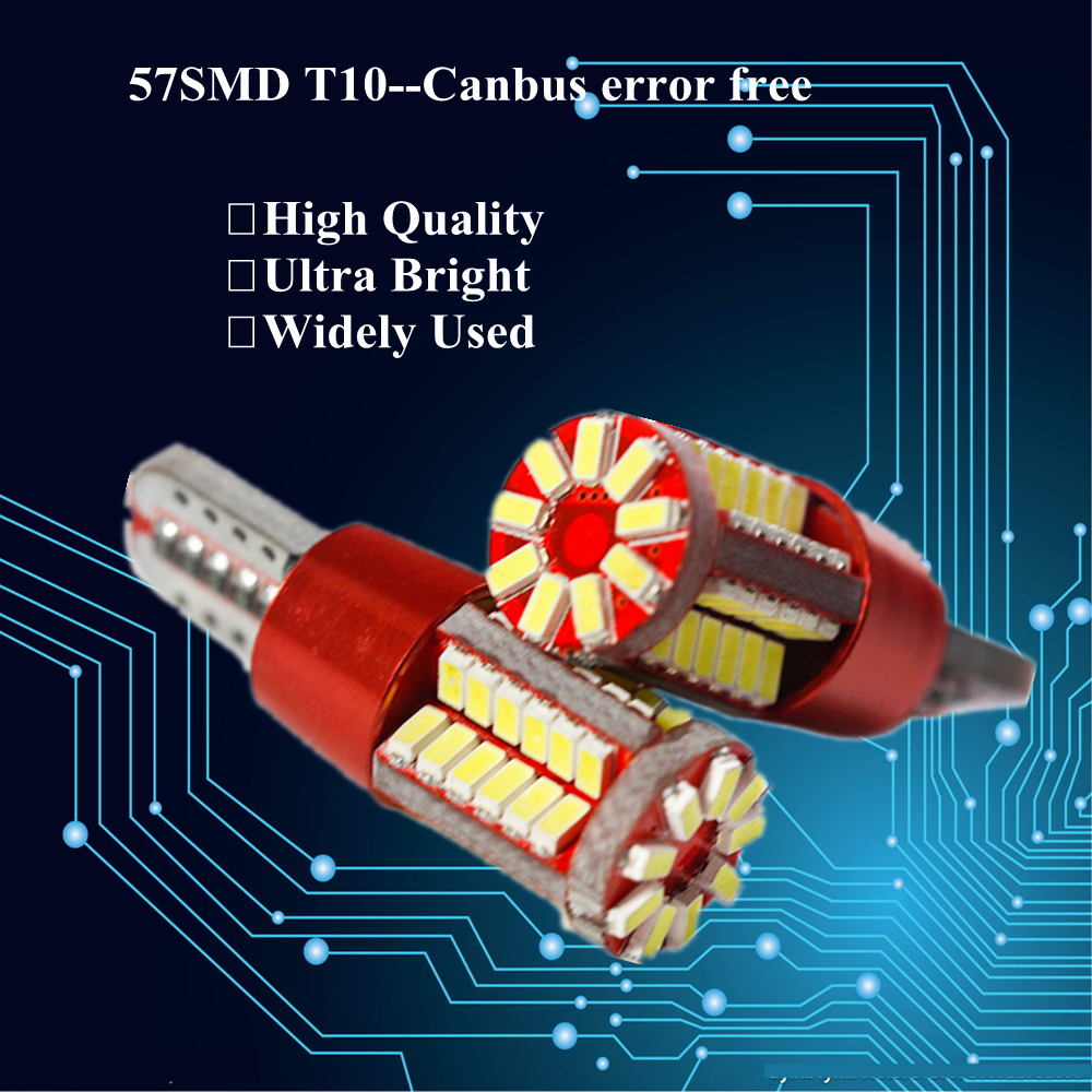 50pcs T10 W5W LED Bulb Light Canbus Error Free 57 LEDs Car Accessory Circuit board Warning Canceller LED Marker Clearance Lights(China (Mainland))