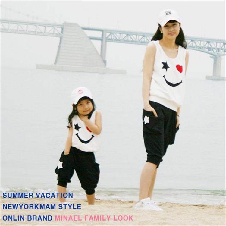 Matching Mother Daughter Clothes Sets Fashion Family Mom Girl 2pcs Outfits Mommy Me Summer Fashion Sleeveless Tshirt+Short<br><br>Aliexpress