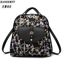 100% женский рюкзак из натуральной кожи 2019 Новый женский двойной рюкзак на плечо новый модный милый студенческий рюкзак с рисунком(China)