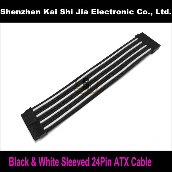 "Free shipping 12"" Black & White Single Sleeved 24 Pin ATX Female to 24Pin PSU Power Cable(China (Mainland))"