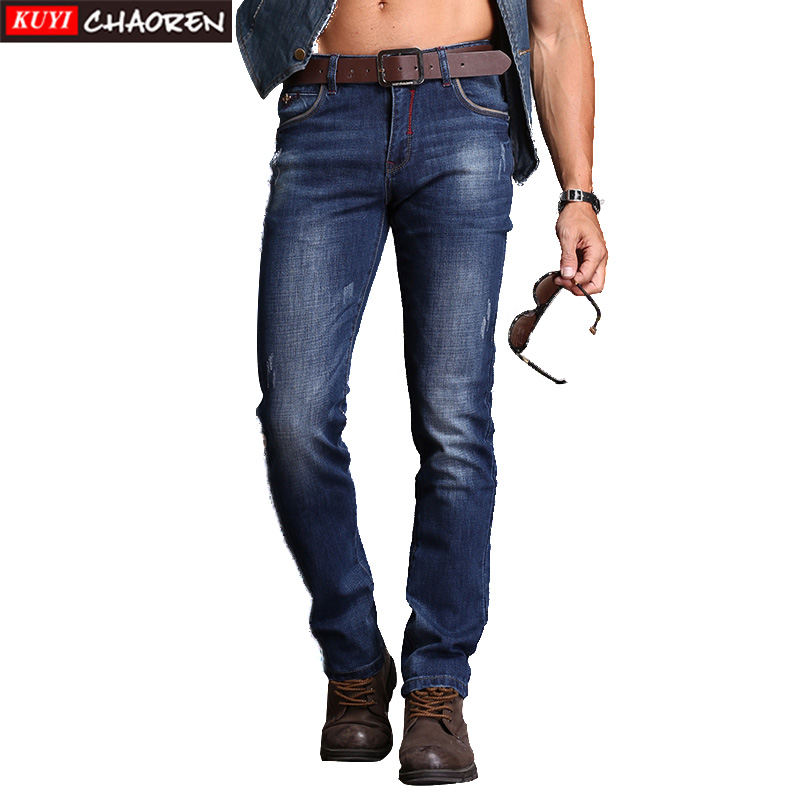 Full Length Straight Solid Male Pant Mid Zipper Fly Brand Men Fashion Jeans