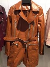 lady long leather coat genuine leather coat(China (Mainland))